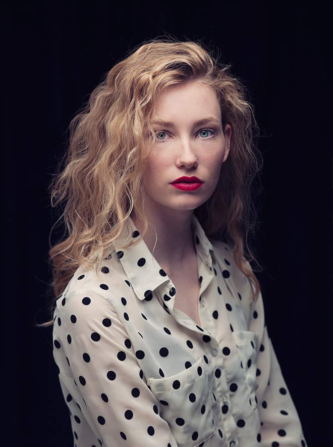 moody powerful beauty portrait, red lipstick