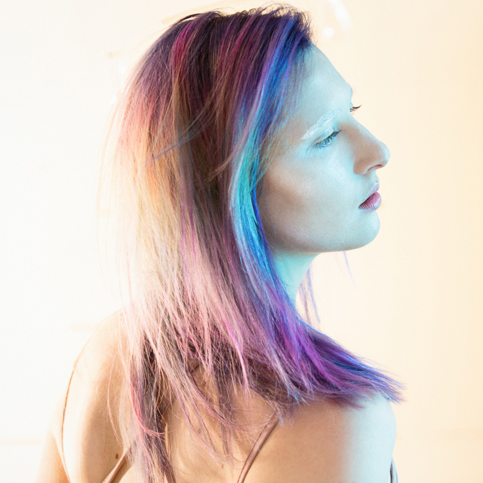 Rainbow technicolor hair color, straight hair styling. Photography for Alameda Hair Stylist Suzette McD by Ella Sophie, Oakland Photographer