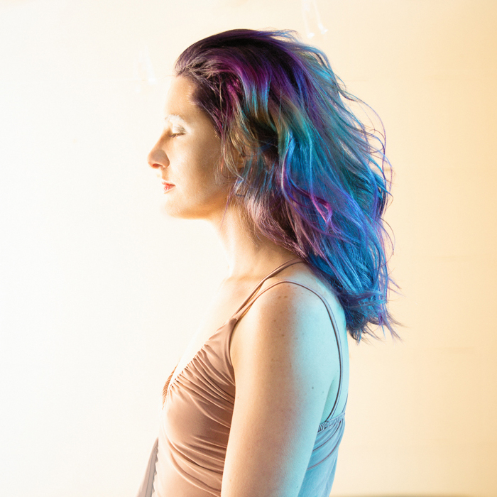 Ethereal Rainbow technicolor hair color, curly hair styling. Photography for Alameda Hair Stylist Suzette McD by Ella Sophie, Oakland Photographer